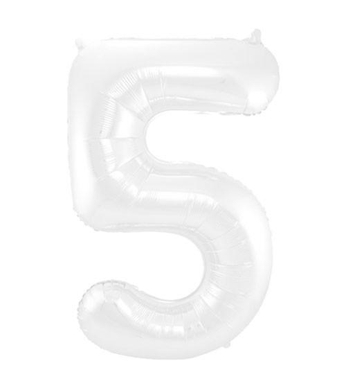 """Zahl-Folienballon """"5"""" - matt weiß - 86 cm"""