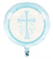 "Runder Folienballon ""Hellblaues Kreuz"" - 45 cm"