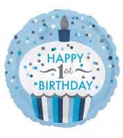 "Runder Folienballon Cupcake ""Happy 1st Birthday"" - blau/silber"