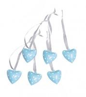 Herz-Glöckchen aus Metall - pastellblau - 6 Stück
