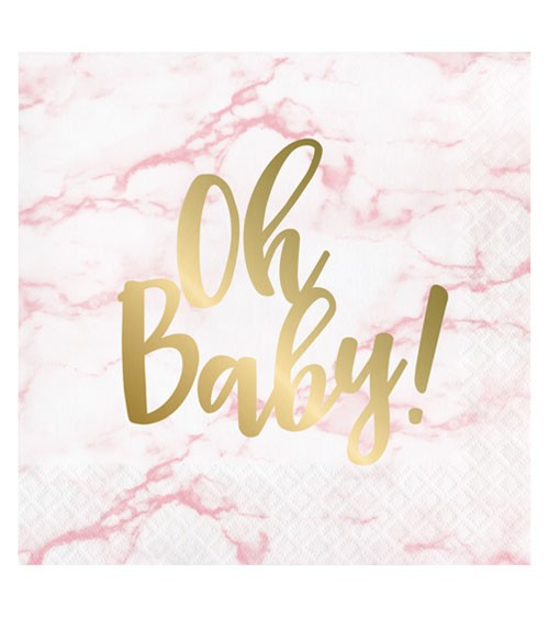 """Servietten """"Marble"""" - Oh Baby - rosa - 16 Stück"""