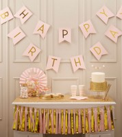 "Happy Birthday-Girlande ""Pastel Perfection"" - gold/rosa - 2,5m"