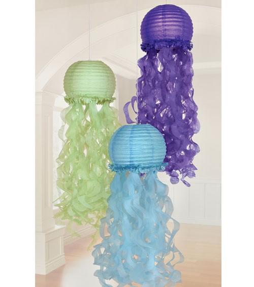 """Lampion-Set """"Quallen"""" - hellblau, hellgrün, lila - 3-teilig"""