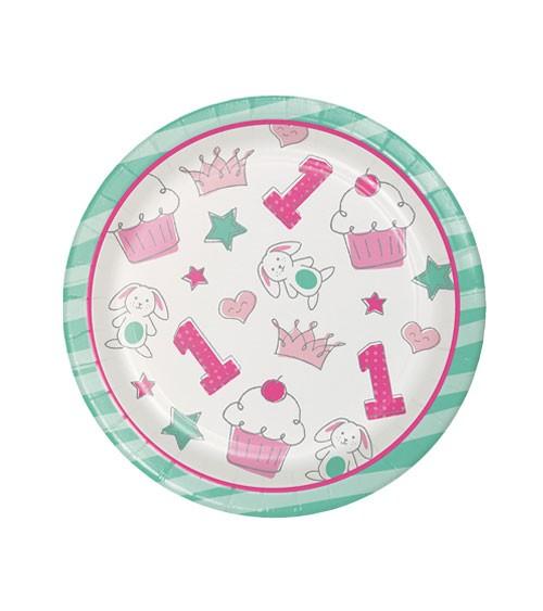 """Kleine Pappteller """"Happy One - pink"""" - 8 Stück"""