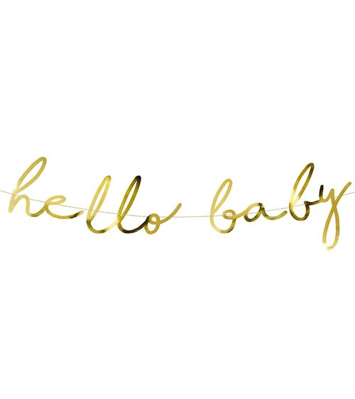 """Hello Baby""-Girlande - metallic gold - 70 cm"