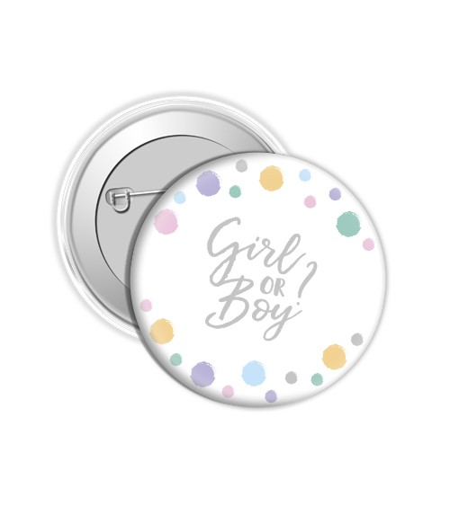 """Button """"Girl or Boy?"""" - Punkte Pastell"""