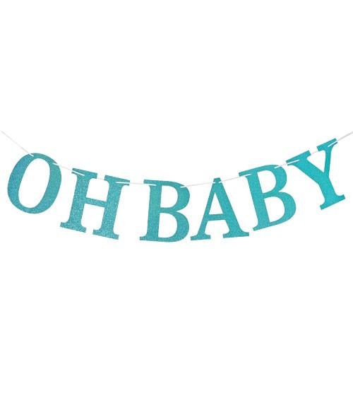 "DIY Girlande mit Glitzer ""Oh Baby"" - blau - 3 m"