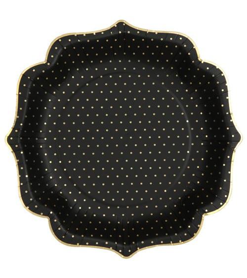 Pappteller mit goldenen Pünktchen - schwarz - 10 Stück