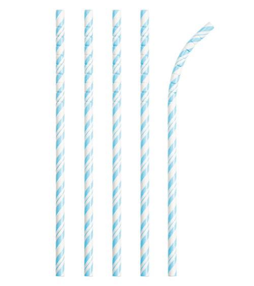 Flexible Papierstrohhalme mit Streifen - hellblau - 24 Stück