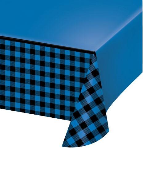 """Papier-Tischdecke """"Karo"""" - blau & schwarz - 137 x 259 cm"""