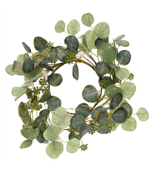 Künstlicher Eukalyptuskranz mit Beeren - 17 cm