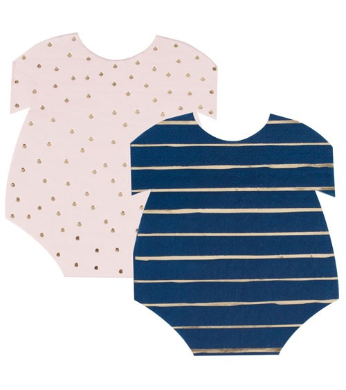 Babybody-Servietten-Mix - rosa & navy - 16 Stück