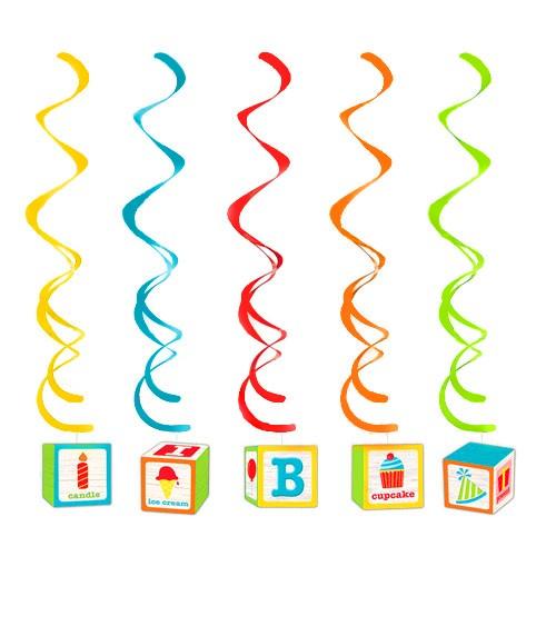 """Spiralgirlanden """"Geburtstags-ABC"""" - 5 Stück"""