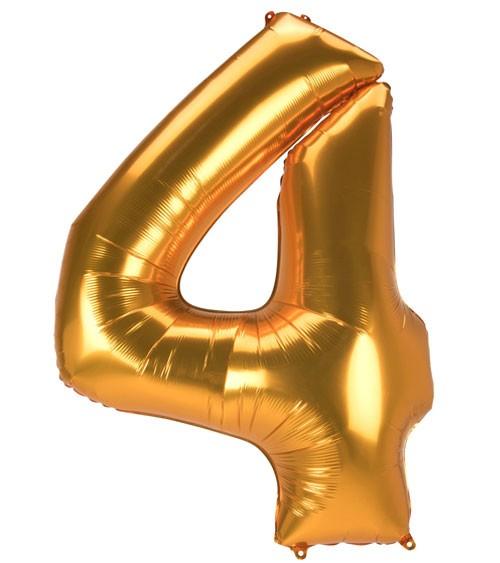 "JumboShape-Folienballon Zahl ""4"" - gold - 91 x 137 cm"