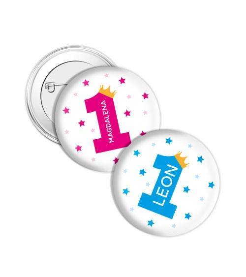 """Dein Button """"1. Geburtstag - Krone"""" - Wunschtext"""