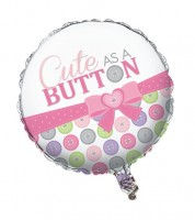 "Runder Folienballon ""Cute as a Button - Girl"""
