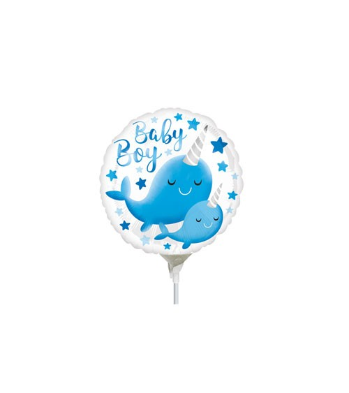 "Supermini-Folienballon ""Baby Boy"" - Narwal - 10 cm"
