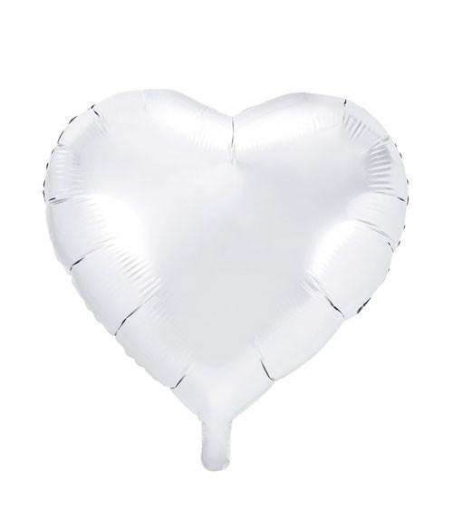 Herz-Folienballon - weiß - 45 cm