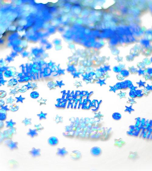 """Holographic-Streukonfetti """"Happy Birthday"""" - blau/silber - 15 g"""