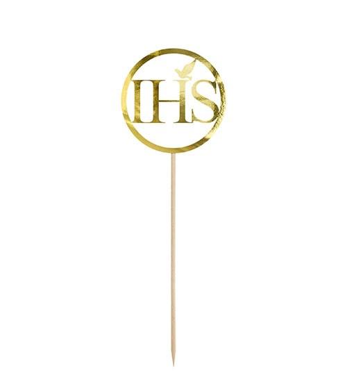 "Cake-Topper aus Papier ""IHS"" - gold - 22 cm"