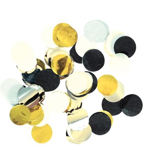 Streukonfetti - schwarz/weiß/gold metallic - 15 g