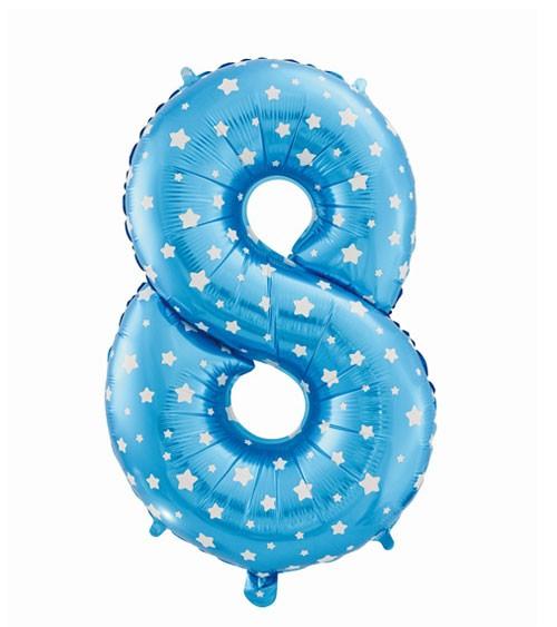 "Folienballon Zahl ""8"" - blau mit Sternen - 61 cm"