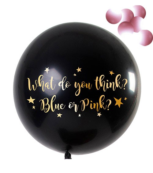 "Gender Reveal Riesen-Ballon ""What do you think"" - Konfetti rosa - 90 cm"