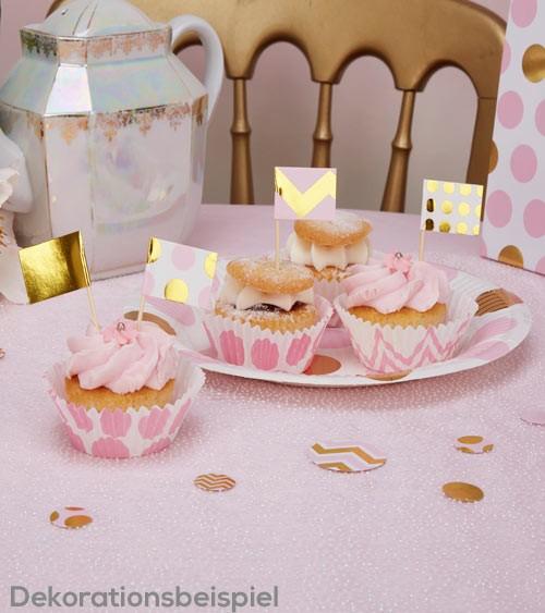 "Cupcake-Picks ""Rosa & Gold"" - 20 Stück"