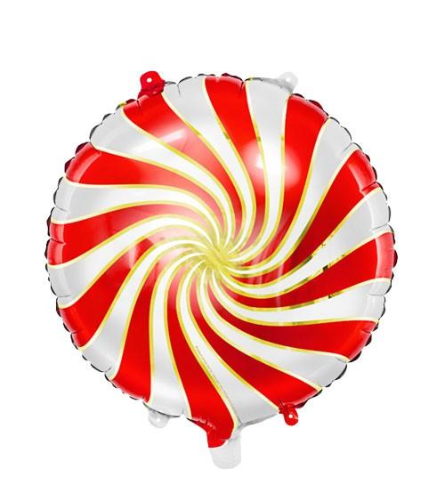 """Folienballon """"Candy"""" - rot & weiß - 35 cm"""