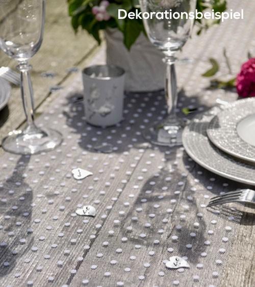Tischläufer aus Tüll mit Punkten - weiß - 30 cm x 5 m