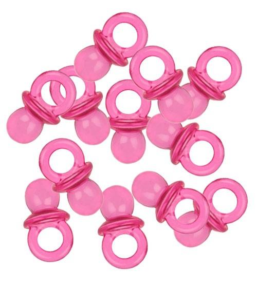 """Tischstreuteile """"Mini-Schnuller"""" - pink - 12 Stück"""