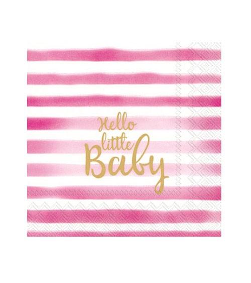 "Cocktail-Servietten ""Hello little Baby"" - rosa - 20 Stück"