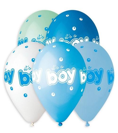 """Luftballon-Set """"It's a Boy"""" - Farbmix - 5 Stück"""