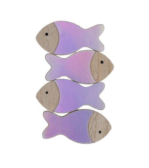 Deko-Fische aus Holz - irisierend - 6 x 3 cm - 4 Stück
