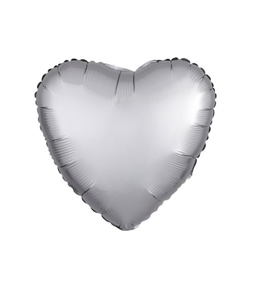 "Herz-Folienballon ""Satin Luxe"" – silber – 43 cm"