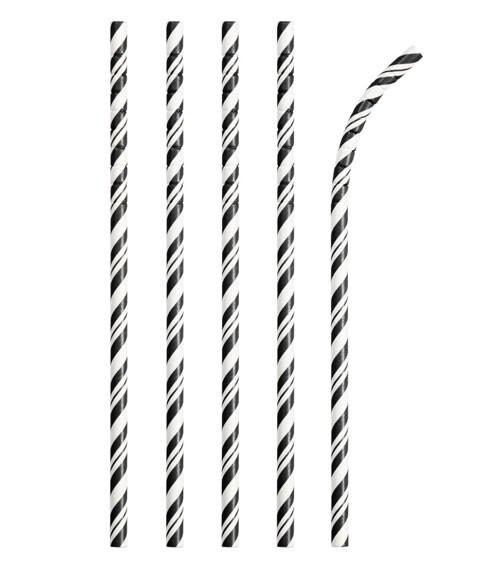 Flexible Papierstrohhalme mit Streifen - schwarz - 24 Stück