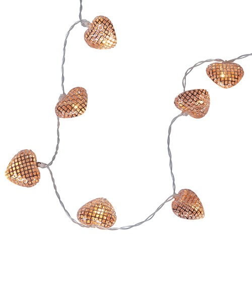 LED-Lichterkette mit Metallic-Herzen - 0,9 m
