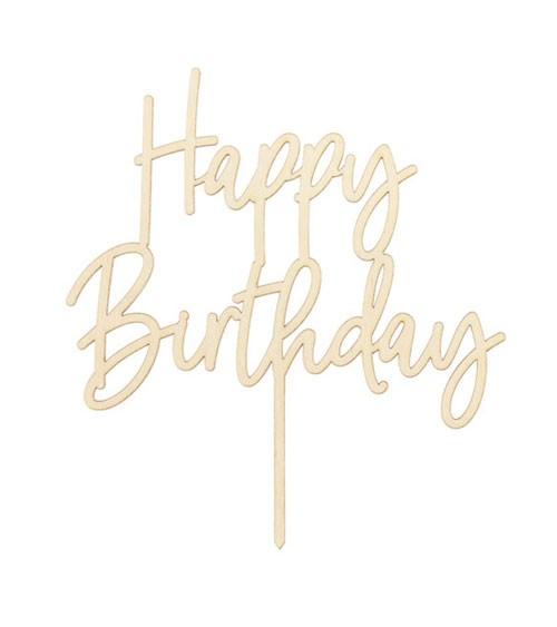 """Cake-Topper aus Holz """"Happy Birthday"""" - 16,5 cm"""