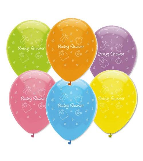 "Luftballon-Set ""Baby Shower"" - bunt - 6 Stück"