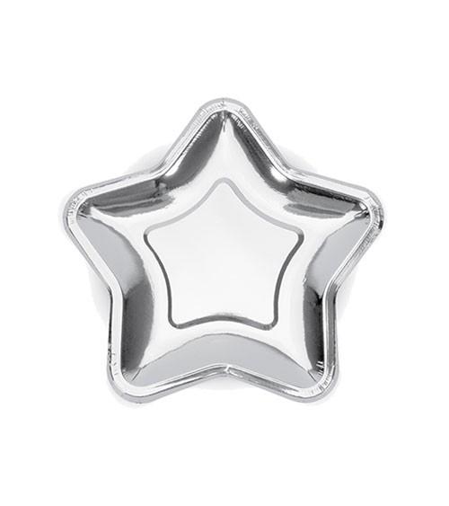 Kleine Stern-Pappteller - metallic silber - 6 Stück