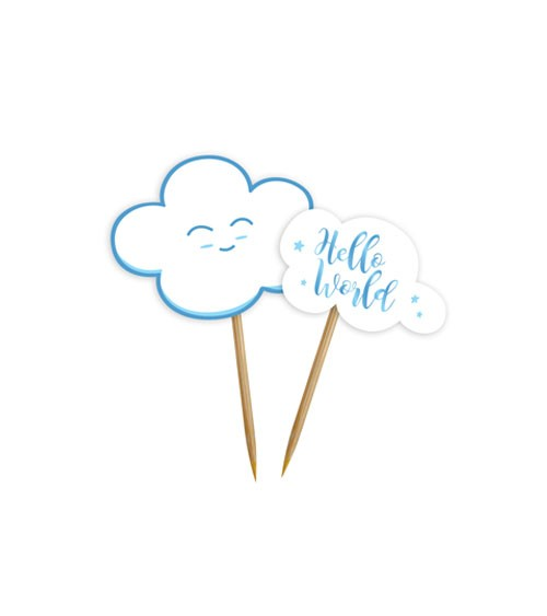 """Party-Picks """"Wolken Baby Shower"""" - blau - 24 Stück"""