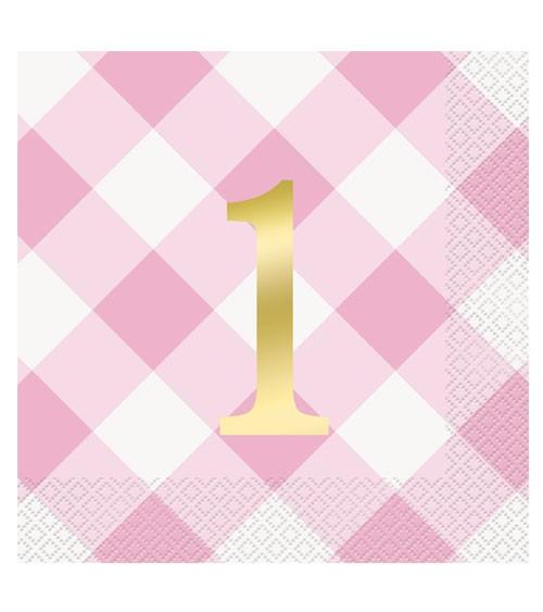 """Servietten """"1. Geburtstag - Vichy Karo"""" - rosa - 16 Stück"""