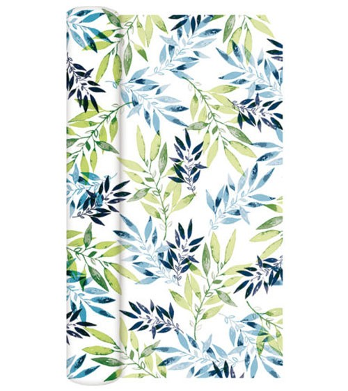 "Airlaid-Tischläufer ""Watercolour Leafs"" - grün - 40 cm x 4,9 m"