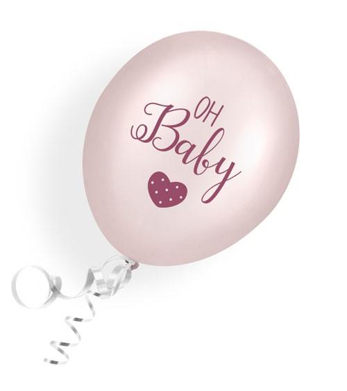 "Luftballons ""Oh Baby"" - rosa - 6 Stück"