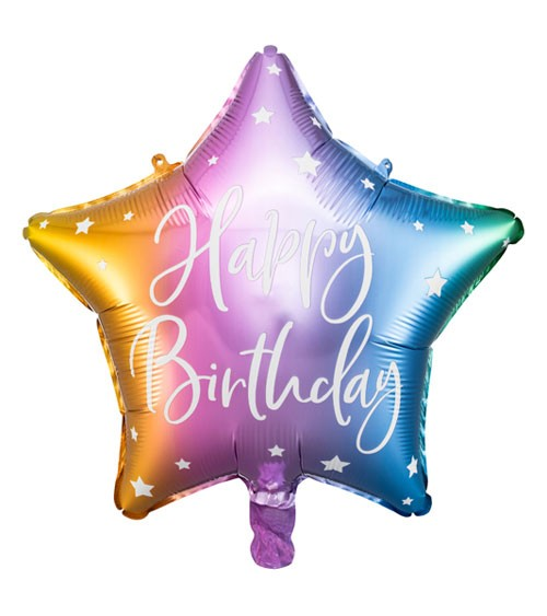 "Stern-Folienballon ""Happy Birthday"" - Rainbow - 40 cm"