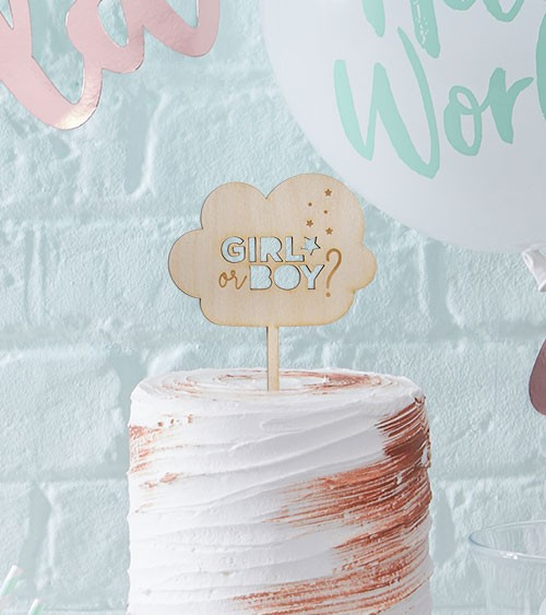 "Cake-Topper ""Girl or Boy - Wolke"" aus Holz"