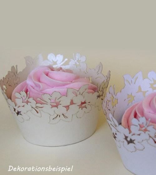 """Cupcake-Wrapper """"Blumen - perlmutt creme"""" - 12 Stück"""