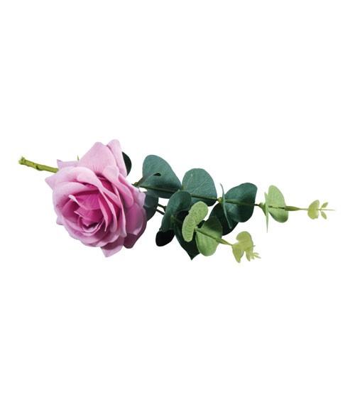 Künstliche Rose mit Eukalyptus - zartlila - 28 cm