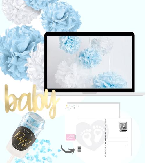 Virtuelle Babyparty Set mit Pom Poms - hellblau - 8-teilig