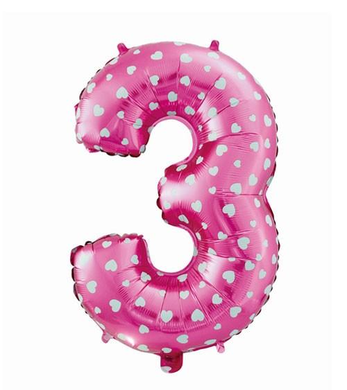 "Folienballon Zahl ""3"" - pink mit Herzen - 61 cm"